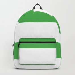 Even Horizontal Stripes, Green and White, XL Backpack