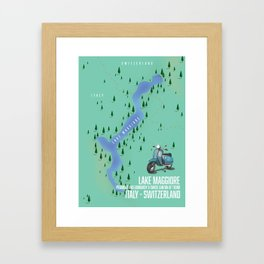 Lake Maggiore map Framed Art Print