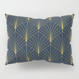 The Cat's Meow! Blue & Gold Art Deco Pattern Pillow Sham