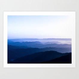 Layers Of Parallax Purple Mountains Lavender Violet ombre Gradient Landscape Minimalist Colorful Pho Art Print
