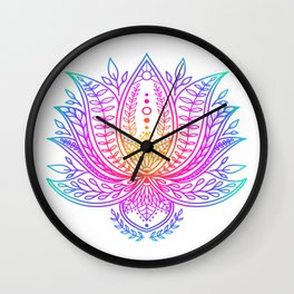 Botanical Lotus - Rainbow Wall Clock