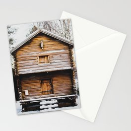 Snowy Cabin Stationery Cards