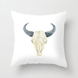 Tribal Bullhead Skull Throw Pillow