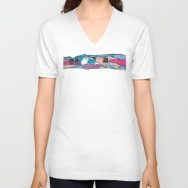 Multicolored Panorama Diptych Part 1 Unisex V-Neck