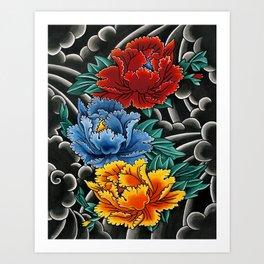 Japanese tattoo style Peonies  Art Print