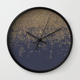 Navy Blue Gold Sparkly Glitter Ombre Wall Clock