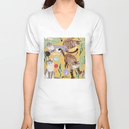 Ragdoll Cats pattern in yellow Unisex V-Neck