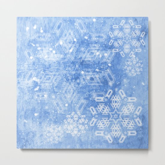 Abstract snow flakes on blue texture Metal Print