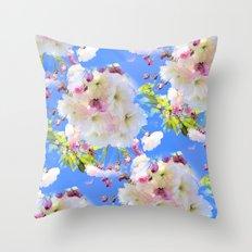 Cherry Blossom Girl Throw Pillow