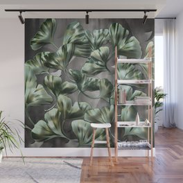 Ginko Leaves on Gray Abstract Wall Mural