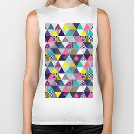 Seamless multicolored triangular pattern Biker Tank