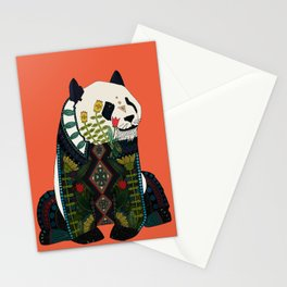 panda orange Stationery Cards
