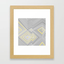 White, Yellow, and Gray Lines - Illusion Framed Art Print