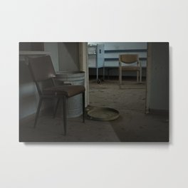 Chairs inside an Abandoned Hospital Metal Print