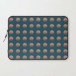 PENNIES lustre copper polka dots grid pattern on perfect teal Laptop Sleeve