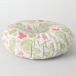Pink and Green Chinoiserie Floor Pillow