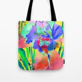 Fluorescent Watercolor Iris Art - Sun Yellow & Peach Tote Bag