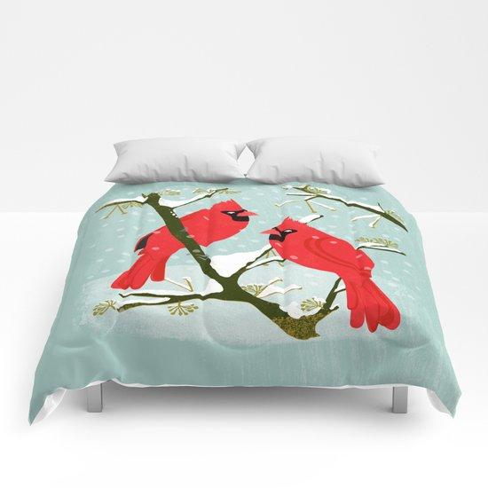 Winter Cardinals by Andrea Lauren  Comforters