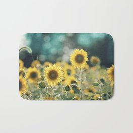 Sunflower Flower Photography, Yellow Teal Nature Turquoise Aqua Blue Green Bath Mat