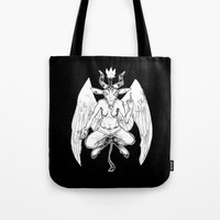 baphomet Tote Bags featuring baphomet by musa
