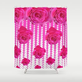 ABSTRACTED CERISE PINK ROSES GARDEN ART Shower Curtain
