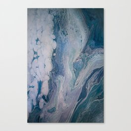 Purple, Blue, and White Abstract Fluid Acrylic Painting 2 Canvas Print