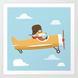 Mr. Fox is Flying Art Print