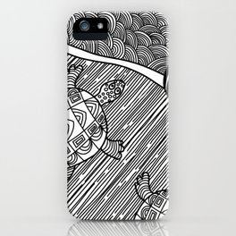 Struggle Of The Turtle To The Sea Black and White iPhone Case