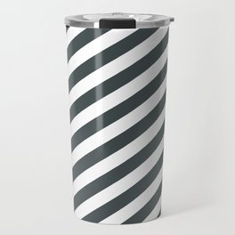 PPG Night Watch Pewter Green & White Stripes Fat Angled Lines - Stripe Pattern Travel Mug