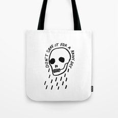 ink black and white skull illustration typography Tote Bag