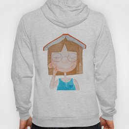 Smiling little cute girl with eyeglasses, and red book on her head. Watercolor illustration. Hoody
