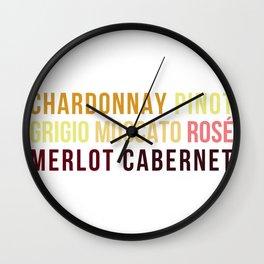 Wine Typography Spectrum Wall Clock