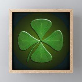 Lucky Clover On Dark Green Framed Mini Art Print