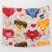 valentines Wall Tapestries featuring Valentines hearts pattern by Voysla