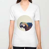 parrot V-neck T-shirts featuring Parrot by Nicklas Heldius
