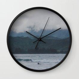 Lone Surfer - Hanalei Bay - Kauai, Hawaii Wall Clock