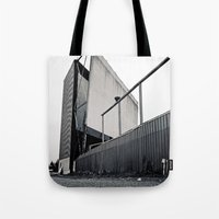 theater Tote Bags featuring Theater angle by Vorona Photography