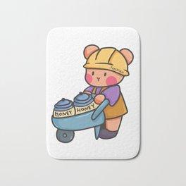 Bear Construction honey wheelbarrow children gift Bath Mat