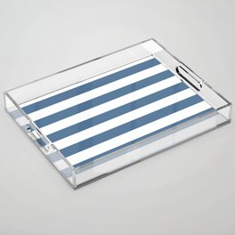 Blue and White Stripes Acrylic Tray