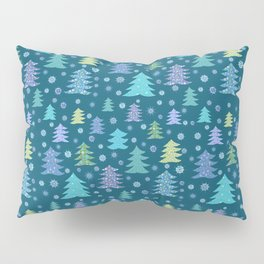 Winter Holidays Christmas Tree Green Forest Pattern Pillow Sham