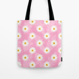 Daisies On Pink Floral Pattern Tote Bag