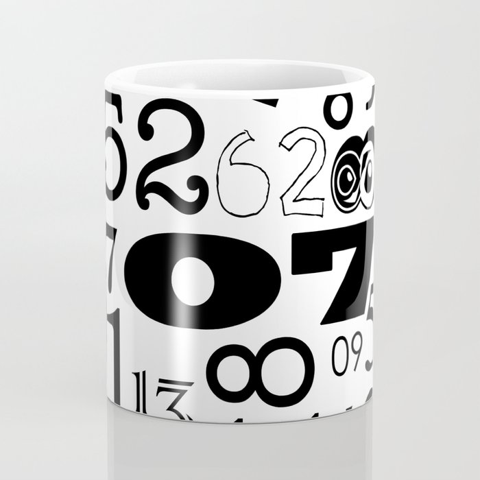 The Numbers in Black and White Coffee Mug