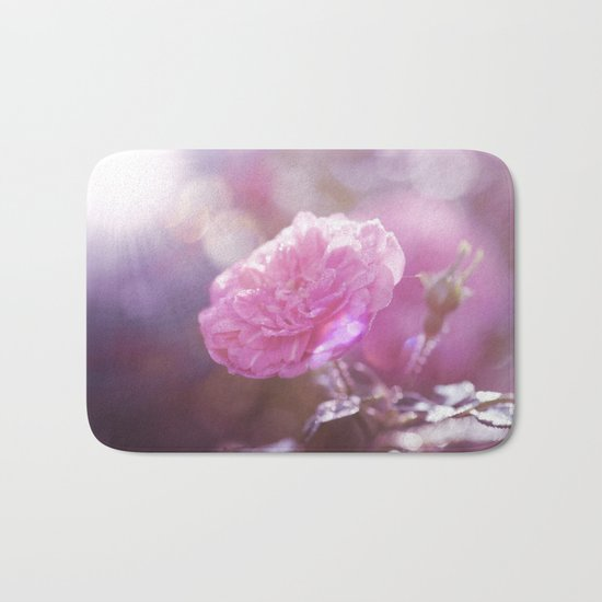 Autumn Roses at backlight  - Roses and Flowers Bath Mat