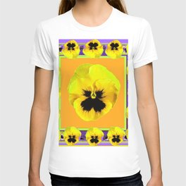 LILAC FRAMED YELLOW  PANSY GARDEN FLOWERS T-shirt