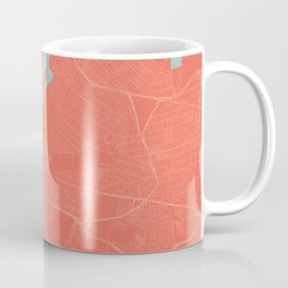 New York City Map in Coral Pink (Manhattan) Coffee Mug