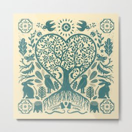 Rustic Early American Tree Of Life Woodcut Metal Print