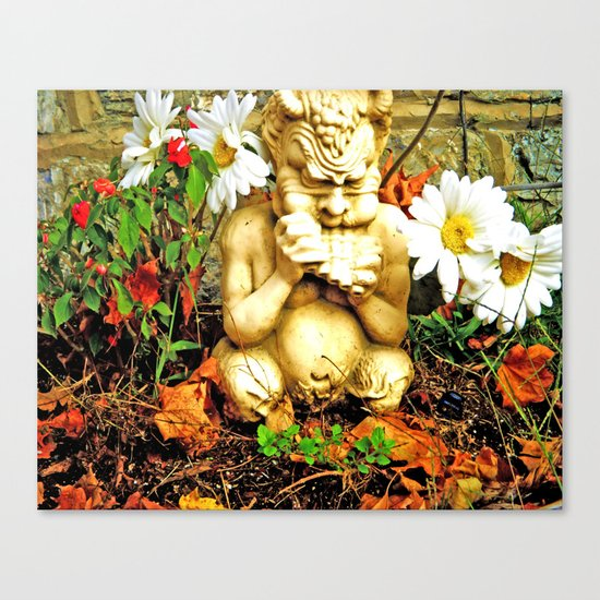 Mystical Flowers and Statue Canvas Print