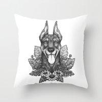 doberman Throw Pillows featuring Doberman & Daisies by Britt Sorensen