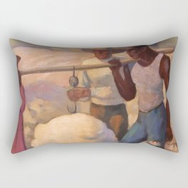 African American Masterpiece 'Works in the Fields' by Thelma Johnson Streat Rectangular Pillow