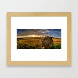 Hay Bale Sunrise Framed Art Print